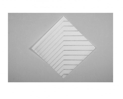 François Morellet, Recto-Verso 45°, 2011, sérigraphie recto verso sur priplak opaline 1092g, édition de 30, 65x65 cm ©Jordan-Seydoux -