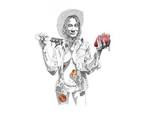 Kosta Kulundzic, Marilyn moderne,mon couer dans ta main... , 2015, tirage pigmentaire rehaussé à la peinture acrylique et à l'encre de Chine, 80x60cm ©Kosta Kulundzic et Editions Bourgeno