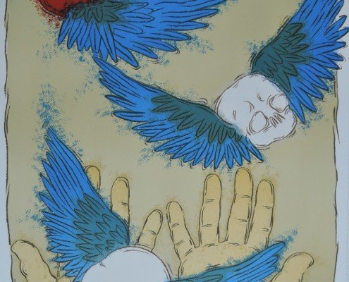 Blue Wings, Mark Brusse, 2014-2015, 63 x 90cm, lithographie, presse Voirin, sur papier BFK Rives 300gr, pur chiffon, signées, 30 ex ©Berville Éditions
