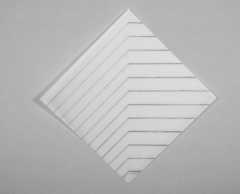 François Morellet, Recto-Verso 45°, 2011, sérigraphie recto verso sur priplak opaline 1092g, édition de 30, 65x65 cm ©Jordan-Seydoux