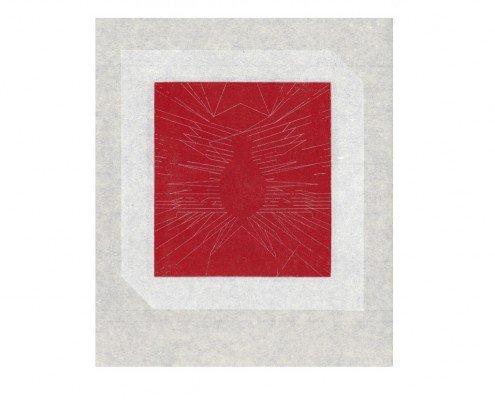 François Righi, Heures Dispercées, folio 14v°, 2014, eau forte sur cuivre, impression en relief sur Japon Minota, 260X245mm, ©Les livres sont muets -