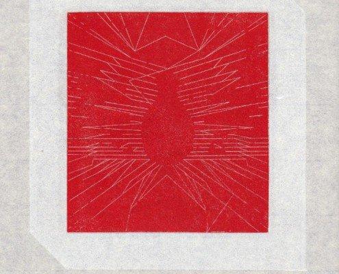 François Righi, Heures Dispercées, folio 14v°, 2014, eau forte sur cuivre, impression en relief sur Japon Minota, 260X245mm, ©Les livres sont muets