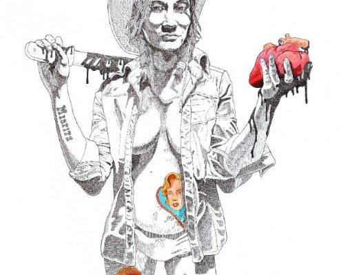 Kosta Kulundzic, Marilyn moderne, mon coeur dans ta main... , 2015, tirage pigmentaire rehaussé à la peinture acrylique et à l'encre de Chine, 80x60cm ©Kosta Kulundzic et Editions Bourgeno
