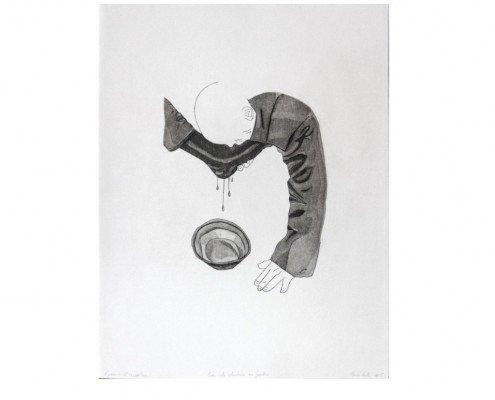 Marie Aerts, Servitude volontaire ou pardon, eau forte et aquatinte,35x28cm, 2015, edition 8ex+2AP ©Galerie DIX9 - Hélène Lacharmoise -