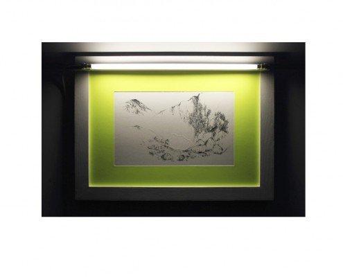 Mélanie Vincent, État Rocher, 2011, gaufrage et eauforte sur plaque de zinc, imprimée sur papier Van Gelder, passepartout jaune fluo, tube fluorescent blanc, ed.6ex, 48 x 66cm Courtesy PapelArt Paris -